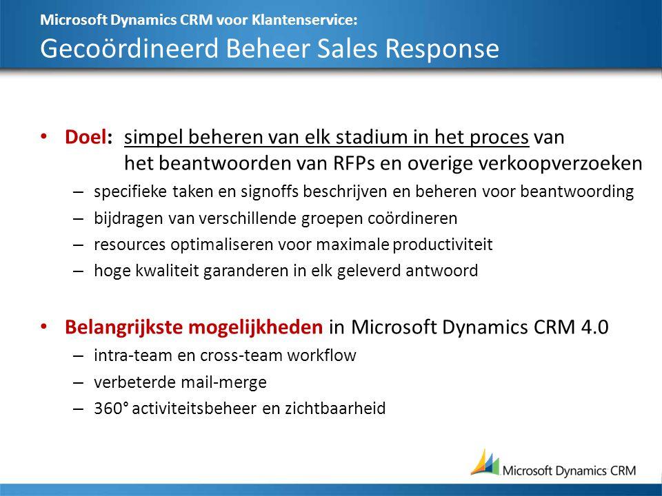 Microsoft Dynamics CRM voor Klantenservice: Gecoördineerd Beheer Sales Response Doel:simpel beheren van elk stadium in het proces van het beantwoorden van RFPs en overige verkoopverzoeken – specifieke taken en signoffs beschrijven en beheren voor beantwoording – bijdragen van verschillende groepen coördineren – resources optimaliseren voor maximale productiviteit – hoge kwaliteit garanderen in elk geleverd antwoord Belangrijkste mogelijkheden in Microsoft Dynamics CRM 4.0 – intra-team en cross-team workflow – verbeterde mail-merge – 360° activiteitsbeheer en zichtbaarheid