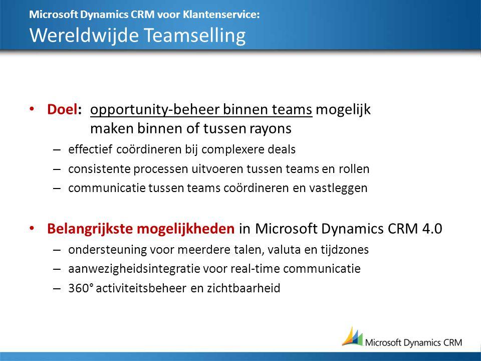 Microsoft Dynamics CRM voor Klantenservice: Wereldwijde Teamselling Doel:opportunity-beheer binnen teams mogelijk maken binnen of tussen rayons – effectief coördineren bij complexere deals – consistente processen uitvoeren tussen teams en rollen – communicatie tussen teams coördineren en vastleggen Belangrijkste mogelijkheden in Microsoft Dynamics CRM 4.0 – ondersteuning voor meerdere talen, valuta en tijdzones – aanwezigheidsintegratie voor real-time communicatie – 360° activiteitsbeheer en zichtbaarheid