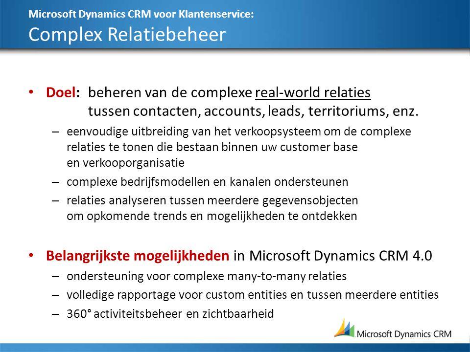 Microsoft Dynamics CRM voor Klantenservice: Complex Relatiebeheer Doel:beheren van de complexe real-world relaties tussen contacten, accounts, leads,