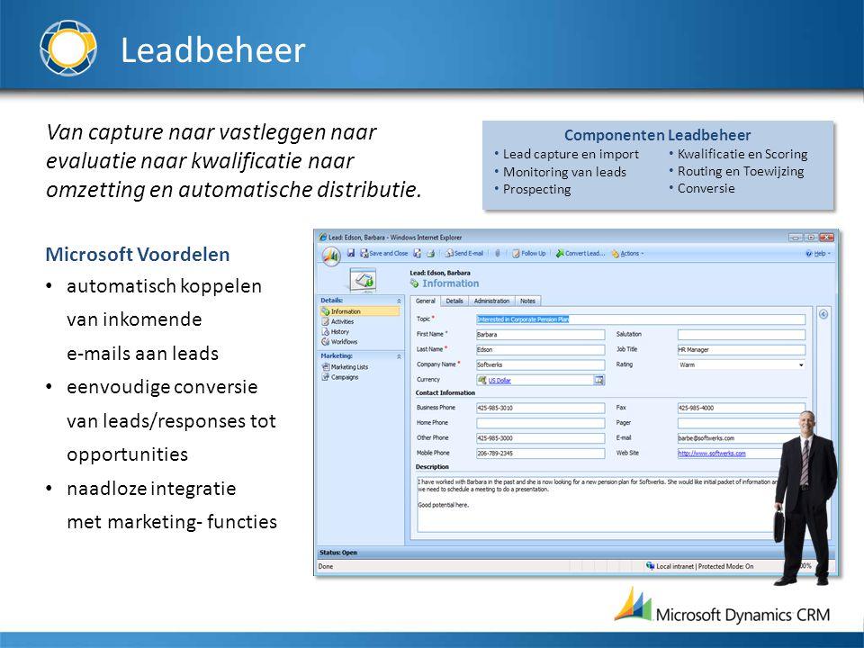 Leadbeheer Van capture naar vastleggen naar evaluatie naar kwalificatie naar omzetting en automatische distributie.