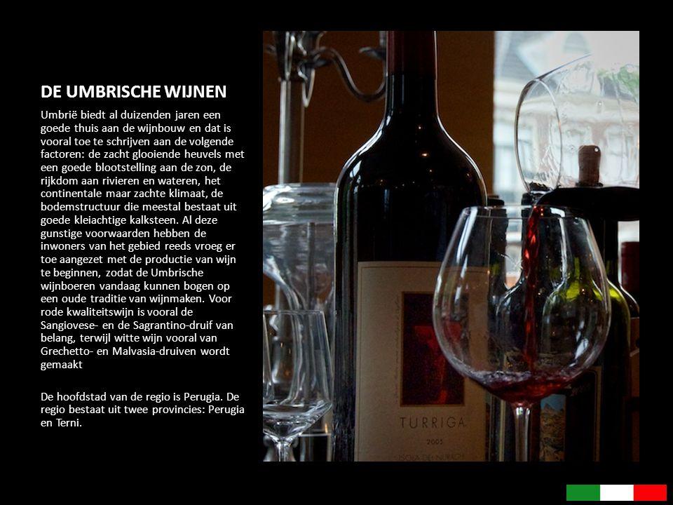 DE UMBRISCHE WIJNEN Umbrië biedt al duizenden jaren een goede thuis aan de wijnbouw en dat is vooral toe te schrijven aan de volgende factoren: de zac