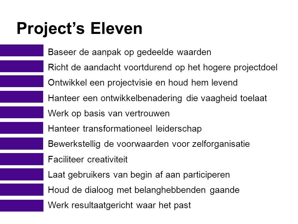 Project's Eleven Baseer de aanpak op gedeelde waarden Richt de aandacht voortdurend op het hogere projectdoel Ontwikkel een projectvisie en houd hem l