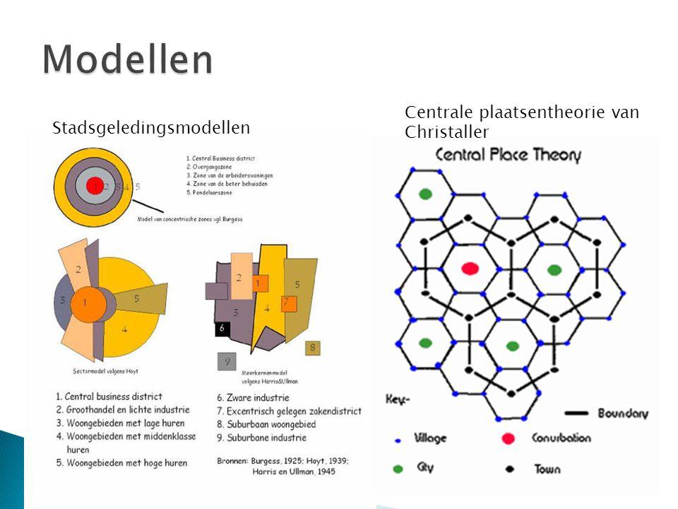 Stadsgeledingsmodellen Centrale plaatsentheorie van Christaller