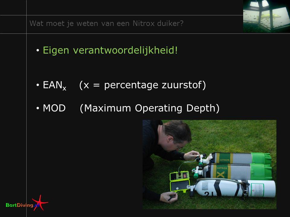 16 Wat moet je weten van een Nitrox duiker? Eigen verantwoordelijkheid! EAN x (x = percentage zuurstof) MOD (Maximum Operating Depth)