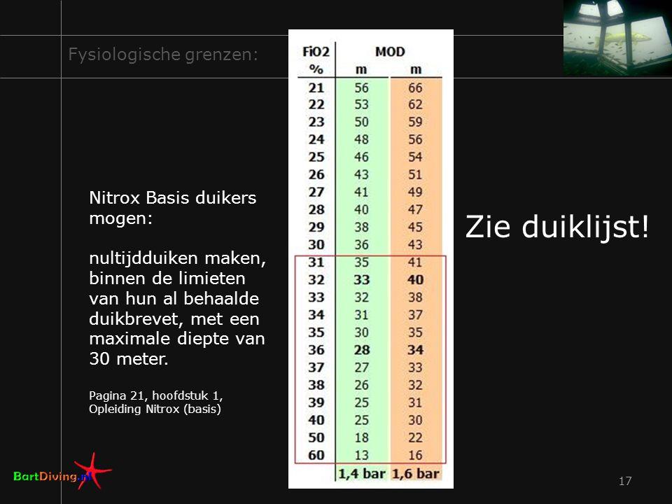 17 Fysiologische grenzen: Zie duiklijst! Nitrox Basis duikers mogen: nultijdduiken maken, binnen de limieten van hun al behaalde duikbrevet, met een m