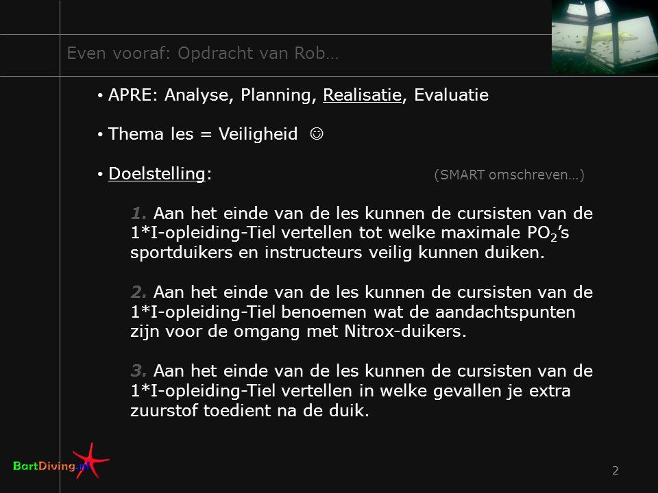 Even vooraf: Opdracht van Rob… APRE: Analyse, Planning, Realisatie, Evaluatie Thema les = Veiligheid Doelstelling: (SMART omschreven…) 1. Aan het eind