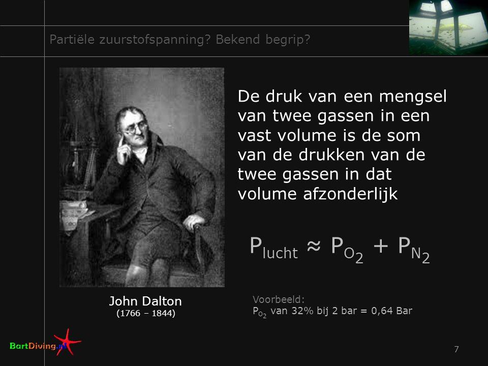 7 Partiële zuurstofspanning? Bekend begrip? John Dalton (1766 – 1844) De druk van een mengsel van twee gassen in een vast volume is de som van de druk