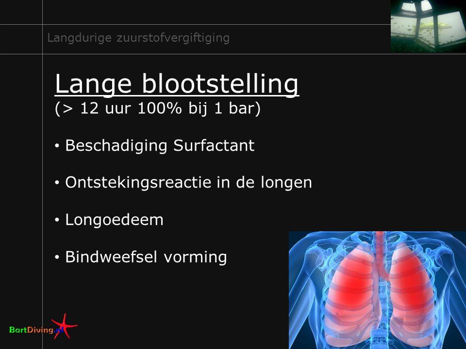 9 Langdurige zuurstofvergiftiging Lange blootstelling (> 12 uur 100% bij 1 bar) Beschadiging Surfactant Ontstekingsreactie in de longen Longoedeem Bin