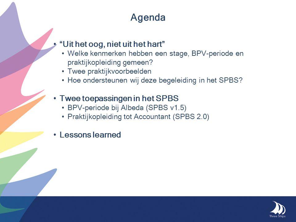 """Agenda """"Uit het oog, niet uit het hart"""" Welke kenmerken hebben een stage, BPV-periode en praktijkopleiding gemeen? Twee praktijkvoorbeelden Hoe onders"""
