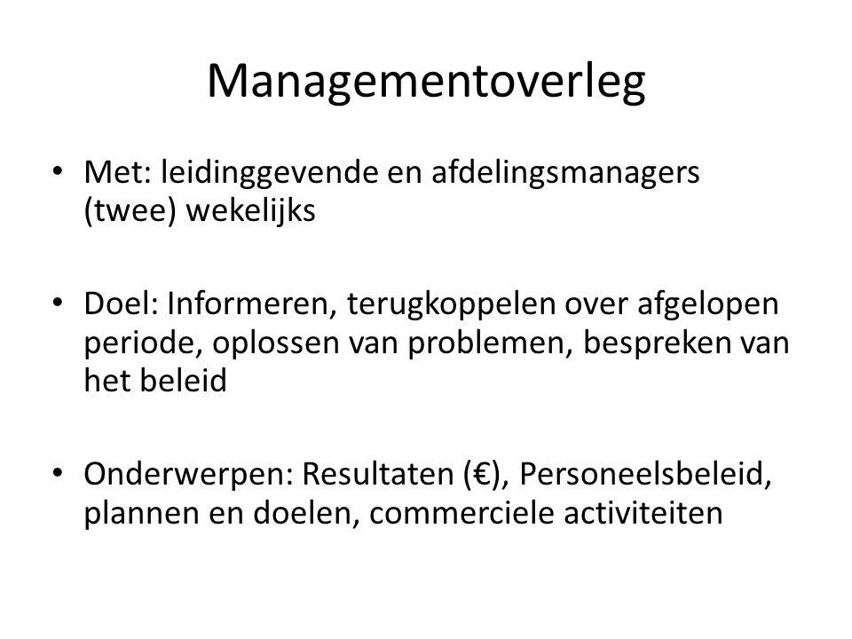 Managementoverleg Met: leidinggevende en afdelingsmanagers (twee) wekelijks Doel: Informeren, terugkoppelen over afgelopen periode, oplossen van probl