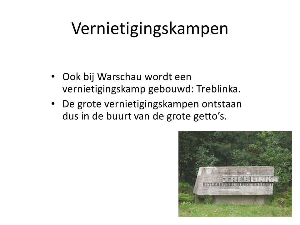 Vernietigingskampen Ook bij Warschau wordt een vernietigingskamp gebouwd: Treblinka. De grote vernietigingskampen ontstaan dus in de buurt van de grot