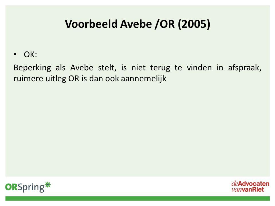 Voorbeeld Avebe /OR (2005) OK: Beperking als Avebe stelt, is niet terug te vinden in afspraak, ruimere uitleg OR is dan ook aannemelijk