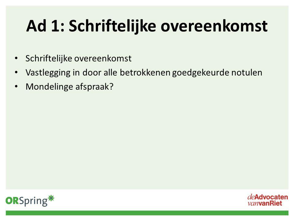 Ad a: Overlegvergadering Verplicht (art.