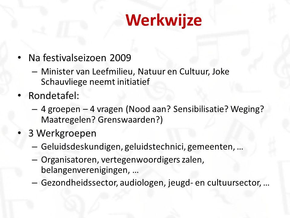 Na festivalseizoen 2009 – Minister van Leefmilieu, Natuur en Cultuur, Joke Schauvliege neemt initiatief Rondetafel: – 4 groepen – 4 vragen (Nood aan?