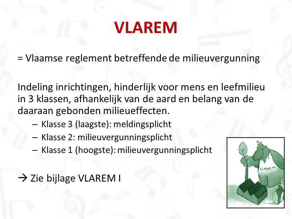 VLAREM = Vlaamse reglement betreffende de milieuvergunning Indeling inrichtingen, hinderlijk voor mens en leefmilieu in 3 klassen, afhankelijk van de