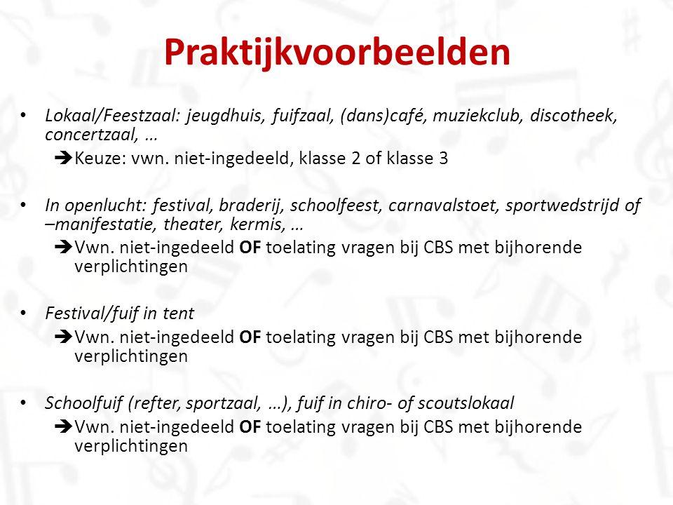 Praktijkvoorbeelden Lokaal/Feestzaal: jeugdhuis, fuifzaal, (dans)café, muziekclub, discotheek, concertzaal, …  Keuze: vwn. niet-ingedeeld, klasse 2 o