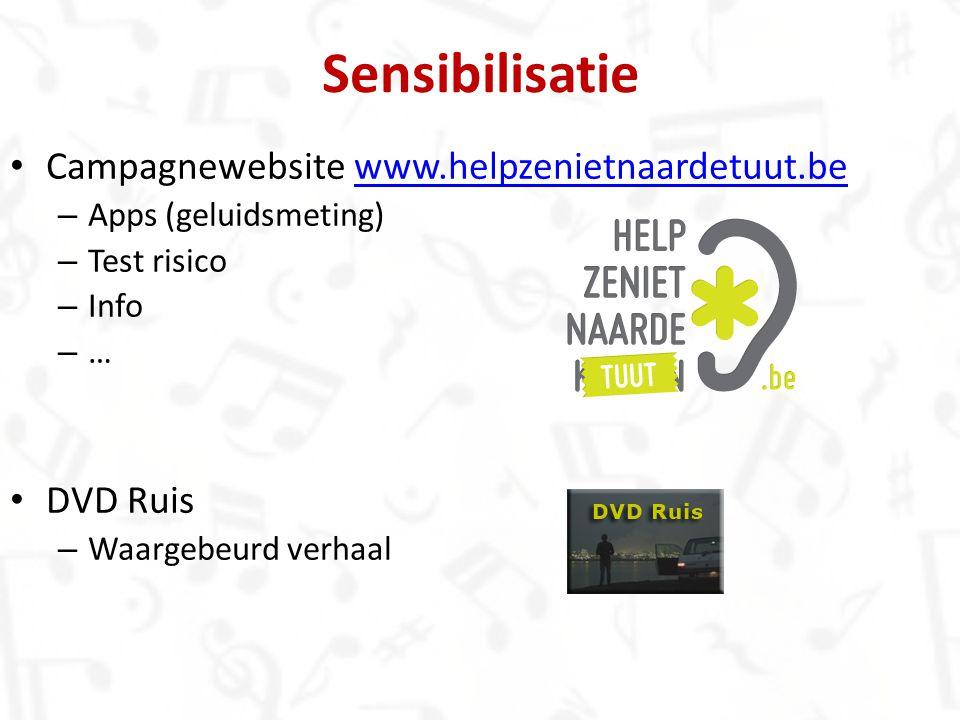 Sensibilisatie Campagnewebsite www.helpzenietnaardetuut.bewww.helpzenietnaardetuut.be – Apps (geluidsmeting) – Test risico – Info – … DVD Ruis – Waarg