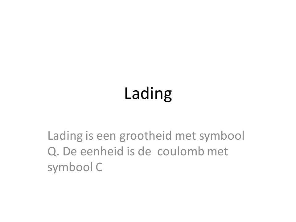 Lading Lading is een grootheid met symbool Q. De eenheid is de coulomb met symbool C