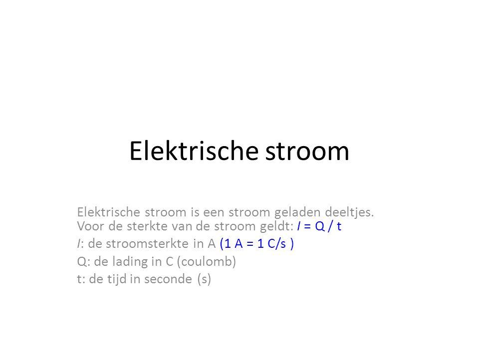 Elektrische stroom Elektrische stroom is een stroom geladen deeltjes.