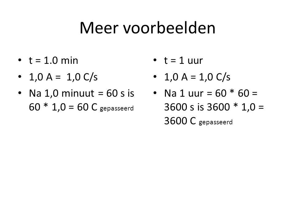 Meer voorbeelden t = 1.0 min 1,0 A = 1,0 C/s Na 1,0 minuut = 60 s is 60 * 1,0 = 60 C gepasseerd t = 1 uur 1,0 A = 1,0 C/s Na 1 uur = 60 * 60 = 3600 s is 3600 * 1,0 = 3600 C gepasseerd