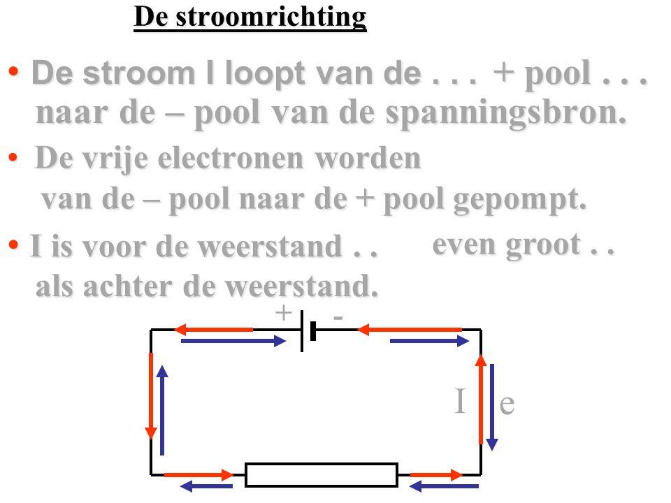 + - naar de – pool van de spanningsbron.naar de – pool van de spanningsbron.
