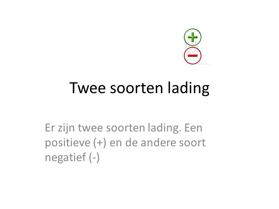 Twee soorten lading Er zijn twee soorten lading. Een positieve (+) en de andere soort negatief (-)
