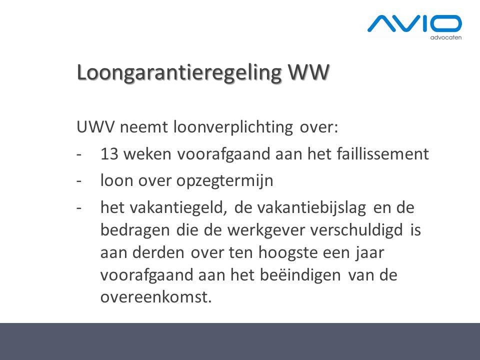 Loongarantieregeling WW UWV neemt loonverplichting over: -13 weken voorafgaand aan het faillissement -loon over opzegtermijn -het vakantiegeld, de vak