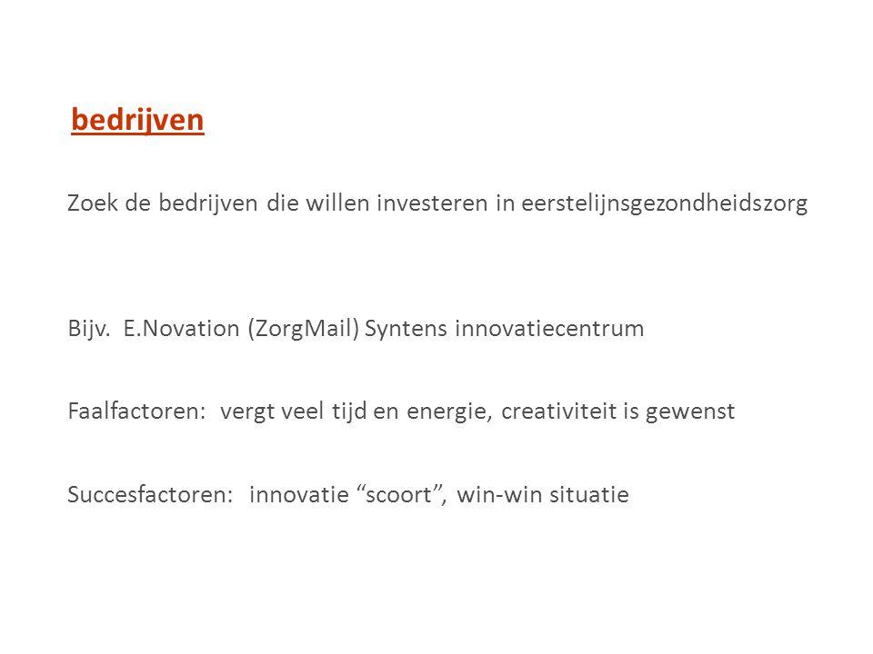 Zoek de bedrijven die willen investeren in eerstelijnsgezondheidszorg Bijv.
