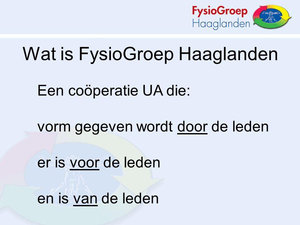 Een coöperatie UA die: vorm gegeven wordt door de leden er is voor de leden en is van de leden Wat is FysioGroep Haaglanden