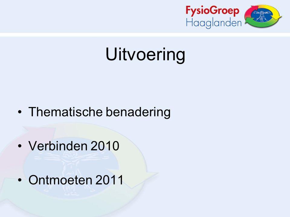 Uitvoering Thematische benadering Verbinden 2010 Ontmoeten 2011
