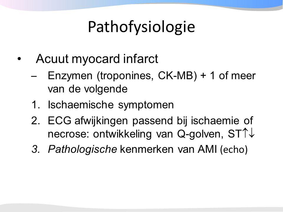 Pathofysiologie Acuut myocard infarct – Enzymen (troponines, CK-MB) + 1 of meer van de volgende 1.Ischaemische symptomen 2.ECG afwijkingen passend bij