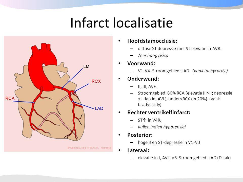 Infarct localisatie Hoofdstamocclusie: – diffuse ST depressie met ST elevatie in AVR. – Zeer hoog risico Voorwand: – V1-V4. Stroomgebied: LAD. (vaak t