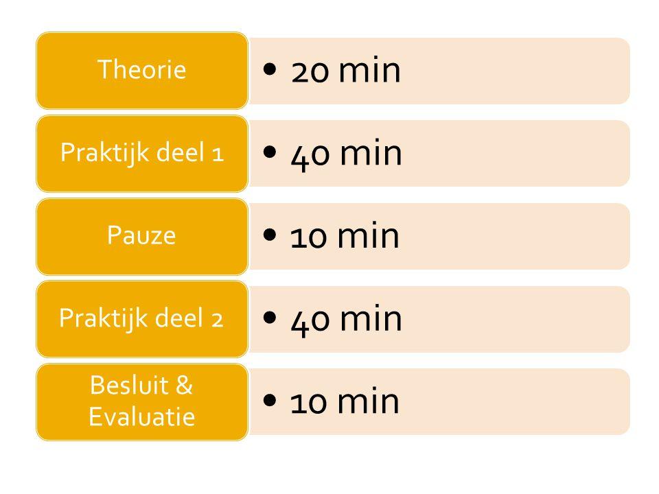 20 min Theorie 40 min Praktijk deel 1 10 min Pauze 40 min Praktijk deel 2 10 min Besluit & Evaluatie