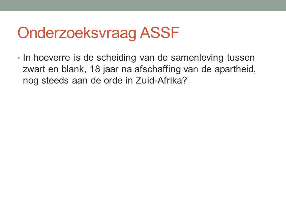 Onderzoeksvraag ASSF In hoeverre is de scheiding van de samenleving tussen zwart en blank, 18 jaar na afschaffing van de apartheid, nog steeds aan de orde in Zuid-Afrika