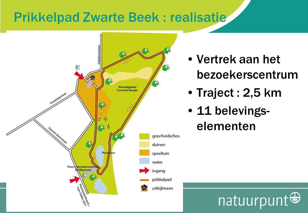 Prikkelpad Zwarte Beek : realisatie Vertrek aan het bezoekerscentrum Traject : 2,5 km 11 belevings- elementen