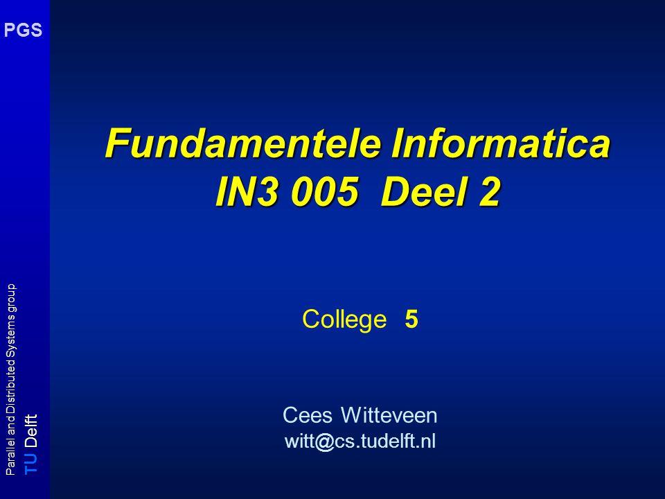 T U Delft Parallel and Distributed Systems group PGS Vb: Unieke oplossingen Unique SAT  NP NP : neem volgende programma input : (U,C) begin 1.