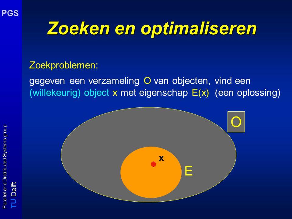 T U Delft Parallel and Distributed Systems group PGS O Zoeken en optimaliseren Optimaliseringsproblemen: gegeven een kostenfunctie c, zoek in O naar object x met eigenschap E(x) waarvoor c(x) minimaal of maximaal is.