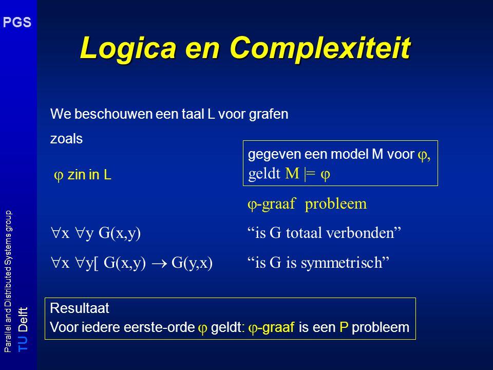 T U Delft Parallel and Distributed Systems group PGS Logica en Complexiteit We beschouwen een taal L voor grafen zoals  zin in L  -graaf probleem 