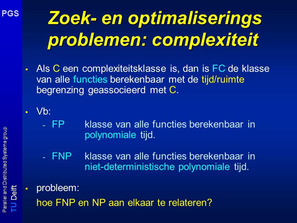 T U Delft Parallel and Distributed Systems group PGS Onderwerpen zoekproblemen en Turing reducties zelfreduceerbaarheid de polynomiale hierarchie (PH) benaderingsalgoritmen: inleiding bestaan er polynomiale analoge algoritmen voor NP?