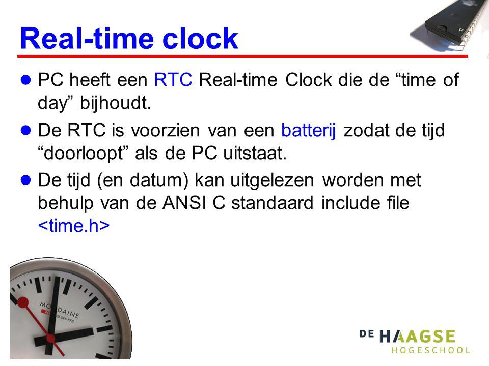 Real-time clock PC heeft een RTC Real-time Clock die de time of day bijhoudt.