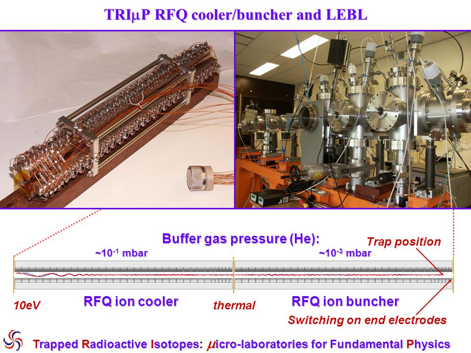 RFQ system + pulsed extraction tube Trapped Radioactive Isotopes:  icro-laboratories for Fundamental Physics RFQcooler p ~ 10 -1 mbar RFQbuncher p ~