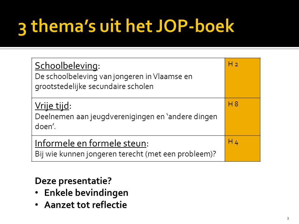 2 Schoolbeleving: De schoolbeleving van jongeren in Vlaamse en grootstedelijke secundaire scholen H 2 Vrije tijd: Deelnemen aan jeugdverenigingen en 'andere dingen doen'.