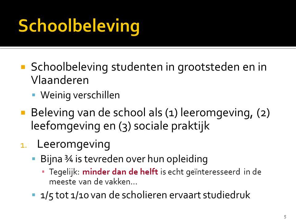  Schoolbeleving studenten in grootsteden en in Vlaanderen  Weinig verschillen  Beleving van de school als (1) leeromgeving, (2) leefomgeving en (3) sociale praktijk 1.