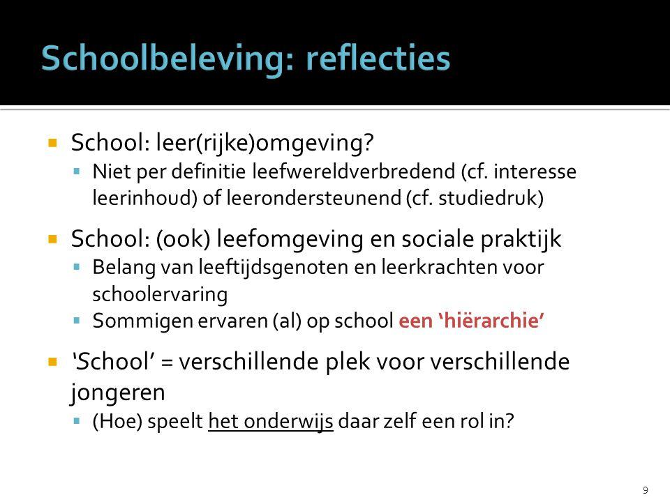  School: leer(rijke)omgeving.  Niet per definitie leefwereldverbredend (cf.
