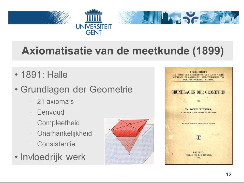 12 Axiomatisatie van de meetkunde (1899) 1891: Halle Grundlagen der Geometrie ‧ 21 axioma's ‧ Eenvoud ‧ Compleetheid ‧ Onafhankelijkheid ‧ Consistenti