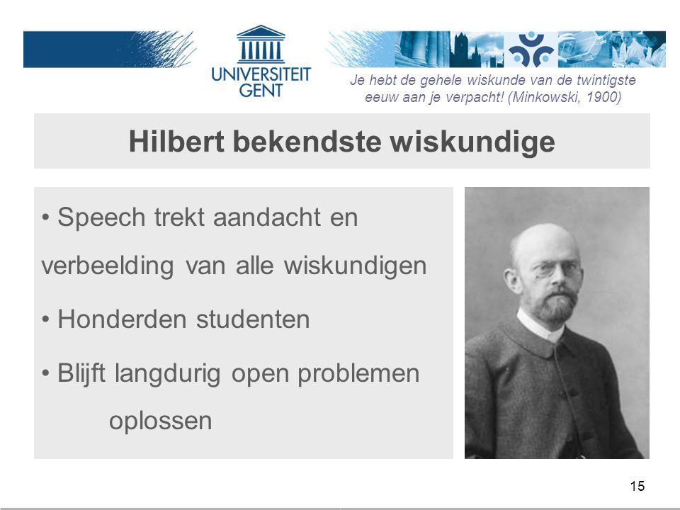 15 Hilbert bekendste wiskundige Speech trekt aandacht en verbeelding van alle wiskundigen Honderden studenten Blijft langdurig open problemen oplossen