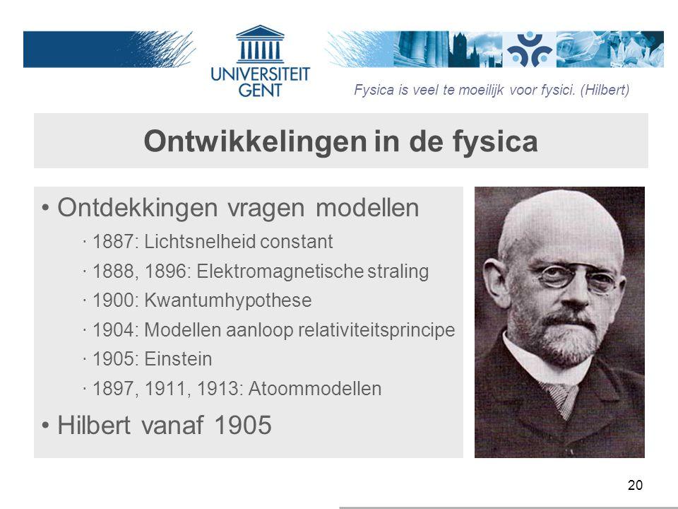 20 Ontwikkelingen in de fysica Ontdekkingen vragen modellen ‧ 1887: Lichtsnelheid constant ‧ 1888, 1896: Elektromagnetische straling ‧ 1900: Kwantumhy
