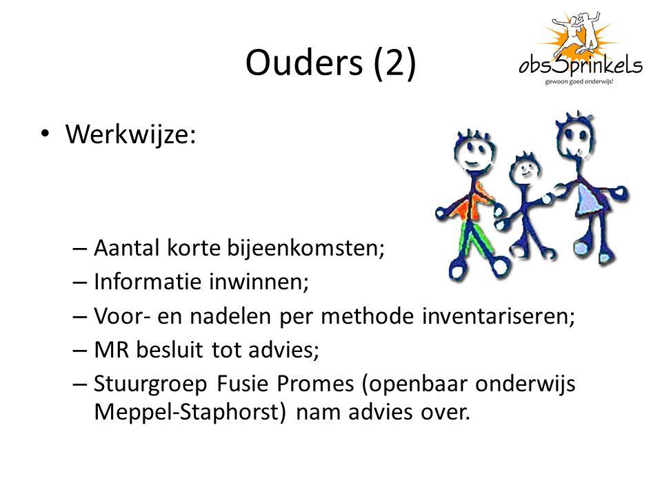 Ouders (2) Werkwijze: – Aantal korte bijeenkomsten; – Informatie inwinnen; – Voor- en nadelen per methode inventariseren; – MR besluit tot advies; – S