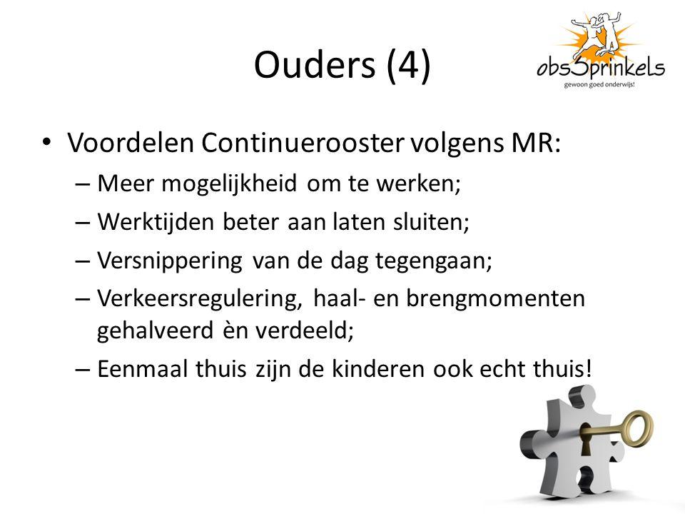 Ouders (4) Voordelen Continuerooster volgens MR: – Meer mogelijkheid om te werken; – Werktijden beter aan laten sluiten; – Versnippering van de dag te