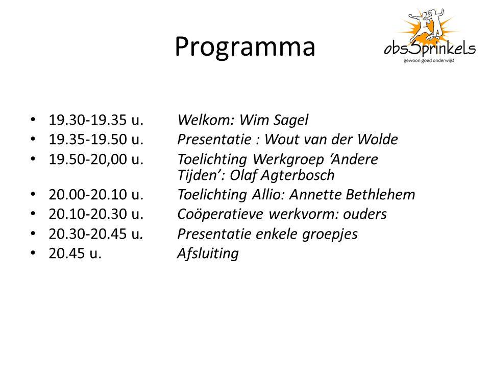 Programma 19.30-19.35 u. Welkom: Wim Sagel 19.35-19.50 u.Presentatie : Wout van der Wolde 19.50-20,00 u. Toelichting Werkgroep 'Andere Tijden': Olaf A